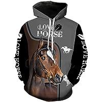 Felpa con Cappuccio da Uomo Donne 3D Felpa Animale Cavallo T Shirt Amore Horse Stampa Moda Jogging Suit