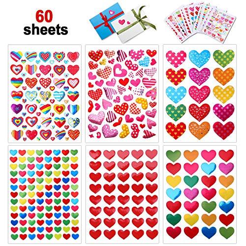 Howaf 60 Hojas Pegatinas Corazones, Autoadhesivo Colores Corazones Pegatinas de Recompensa para Niños, Infantiles Regalo, San Valentín decoración