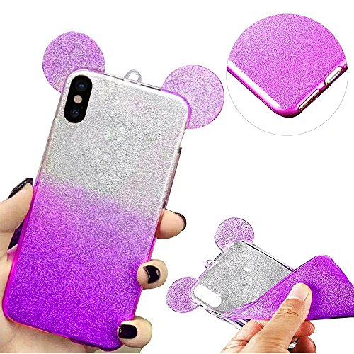 QianYang Transparente Coque pour iPhone X TPU Silicone Etui iPhone X Ultra Slim Soft Flexible TPU Bumper Protective Case Cover pour iPhone X Souple Coque avec Bling Diamant Crystal Strass TPU Bumper H Gradient-Purple