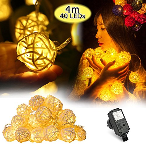 InnooLight 4m 40er Rattan Lampion LED Lichterkette Innen Deko LED Lichterkette Warmweiss DC 31V als strombetriebene Lichterkette für Zimmer, Stimmungsbeleuchtung, Lichterkette Indoor, Eu Stecker