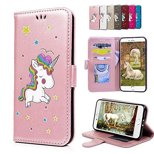 iPhone 6S Plus 6 Plus Lederhülle, E-Unicorn Handyhülle Apple iPhone 6S Plus 6 Plus Hülle Einhorn Leder Case Glitzer Muster Schutzhülle Flip Case Tasche Klapp Hülle mit Kartenfach + Silikon - Rosa Plus Iphone 6 Leder Geldbörse