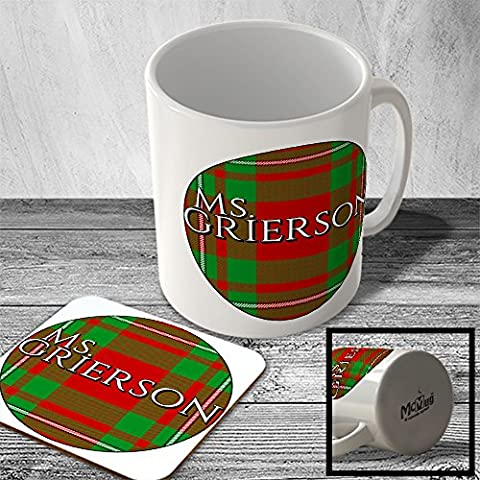 MAC_CLAN_2257 Ms. GRIERSON surname (MacGregor Modern Tartan) (circle background) - Scottish Surname Mug and Coaster