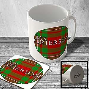 MAC_CLAN_2257 Ms. GRIERSON surname (MacGregor Modern Tartan) (circle background) - Scottish Surname Mug and Coaster set