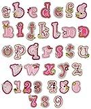 alles-meine.de GmbH R - Buchstabe als Bügelbild - 2,8 cm * 3,2 cm groß - gestickte Applikation Aufnäher / Alphabet einzelne Buchstaben - zum Aufbügeln