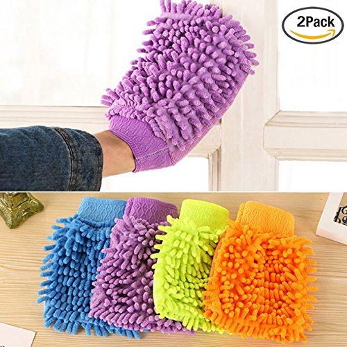 veewon-2-x-microfiber-mitt-gloves-car-kitchen-household-wash-washing-cleaning-glove-mit-random-color
