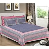 Khushal Homes King Size 120 TC Geometric Printed 100% Cotton Bedsheet With Pillow Covers (Pink, King)