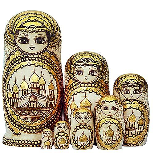 Matroschka Kostüm Russische - GLITZFAS 7pcs Russische Matroschka Puppe Doll Hand Made in Russland Holz Geschenk Spielzeug (A)