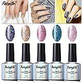FairyGlo - Set de 5 esmaltes de uñas de gel UV con brillo para principiantes, 10 ml