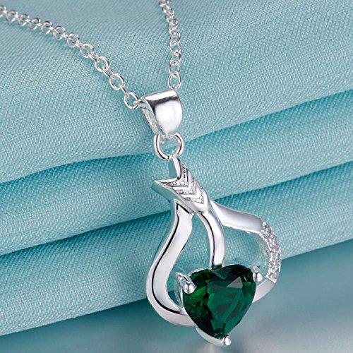 Collier coeur flèche oxyde de zirconium argent 925 Vert