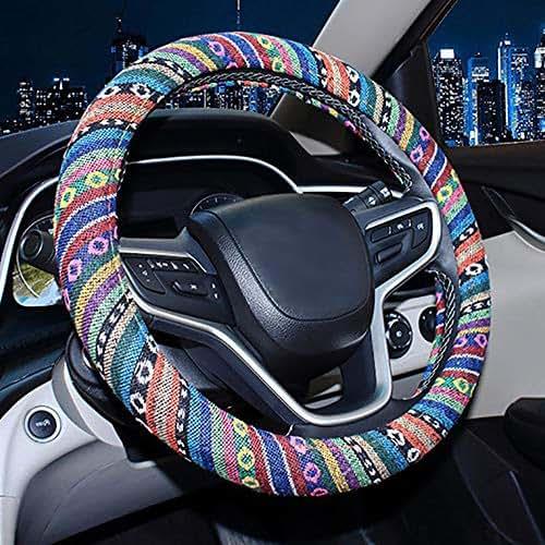 Weisin Car Steering Wheel Cover Plush Vehicle Steering Wheel Protector Universal for Auto Truck Diameter 38cm Leopard Print,gray