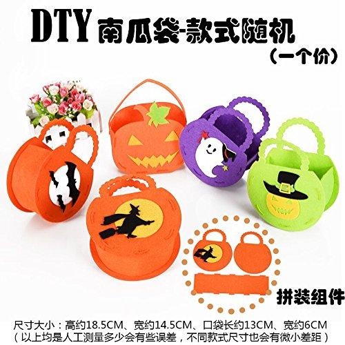 Halloween Dekoration Requisiten Spielzeug getarnt als Zubehör zellulären Kürbis Beutel Geschenkbeutel candy pocket Stoffbeutel, DIY Kürbis Tasche (Zwei Face Kostüm Diy)