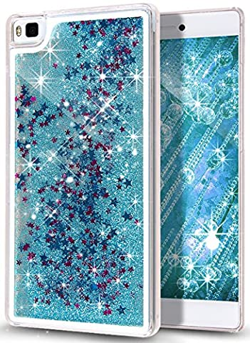 Huawei P8 Case,NSSTAR Huawei P8 [Liquid] [Glitter] Case,Creative Design Flowing Liquid Floating Bling Glitter Sparkle Stars Clear Hard Case for Huawei