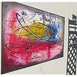 Abstraktes Acrylbild blau-rot-ge