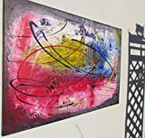 Abstraktes Acrylbild blau-rot-gelb XXL-Bild 100x70cm