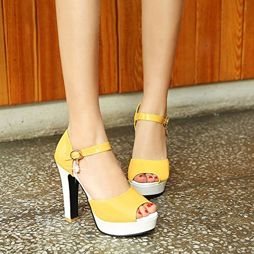 MissSaSa Donna Sandali col Tacco Alto Estate Colore gaillo