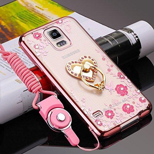 Galaxy Note 4, Transparent Schutzhülle Silikon Crystal Case für Samsung Galaxy Note 4, [360 Grad Strass Liebe Herz Ring Fingerhalterung Ständer] Schmetterling Blumen Bunte Diama ()