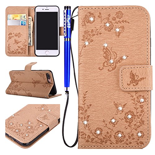 FESELE Custodia In Pelle Per iPhone 7 Plus, farfalla fiore Bling Glitter Cristallo Diamante Brillante Strass Flip Cover Wallet Case Custodia In Pelle Protettiva Portafoglio Custodia Lusso Libro Cover  farfalla,oro