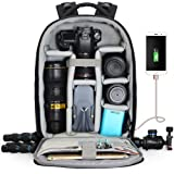 CADeN Camera Backpack Professional DSLR Bag with USB Charging Port Rain Cover Photography Laptop Backpack for Women Men Water