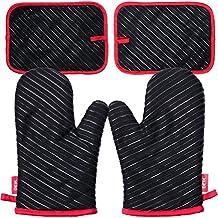 Juegos de guantes para horno DEIK, guantes de cocina resistentes al calor hasta 240 ℃
