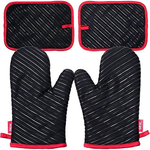 deik Ofenhandschuhe und Topflappen, Hitzebeständige Handschuhe bis zu 240℃, Silikon Anti-Rutsch Grillhandschuhe, Geeignet für Kochen, Backen, Grillen, Schwarz