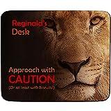 FaceOn Mouse Mats Renaud de Desk-approche avec Prudence-Motif lion-Nom personnalisé Tapis de souris-Premium (5mm d'épaisseur)