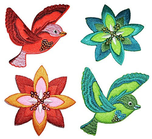 alles-meine.de GmbH 4 TLG. Set: Bügelbilder - Paradies Vogel + Blumen - 6,5 cm * 6,5 cm - Aufnäher Applikation - Flicken gestickt mit fest afgenähten Pailletten - Vögel Kolibris -