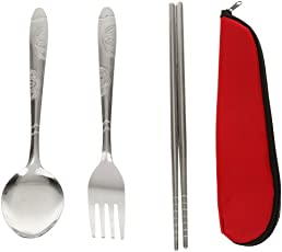 Magideal Stainless Steel Dinnerware Spoon+Fork+Chopsticks for Travel Outdoor Camping