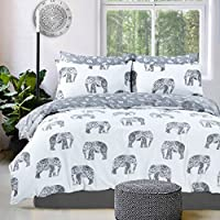 Eirene Threadz Ellephant & Cat & Unicorn Printed Polycotton Duvet Cover Sets with Pillow Cases Bedding Sets