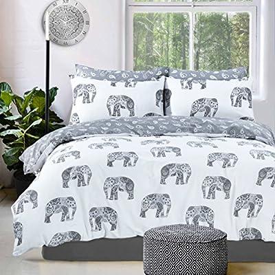 Eirene Threadz Ellephant & Cat & Unicorn Printed Polycotton Duvet Cover Sets with Pillow Cases Bedding Sets