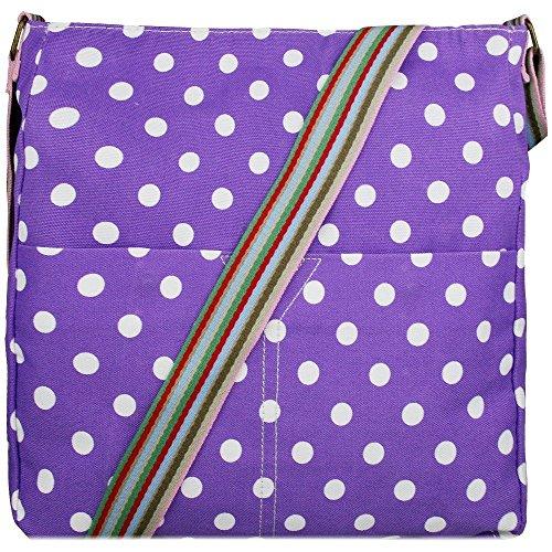Donna, motivo floreale con farfalla, motivo a pois, in tela (Polka Dots Purple)