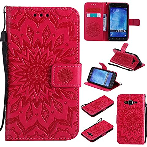 For Samsung Galaxy J5 Case [Red],Cozy Hut [Wallet Case] Magnetic Flip Book Style Cover Case ,High Quality Classic New design Sunflower Pattern Design Premium PU Leather Folding Wallet Case With [Lanyard Strap] and [Credit Card Slots] Stand Function Folio Protective Holder Perfect Fit For Samsung Galaxy J5 / SM-J500F 5,0 inch - red