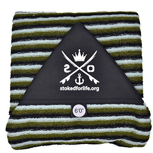 stokedforlife Surfboard Socke 6\', grün | weiß | schwarz