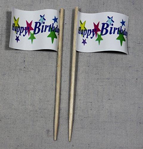 Party-Picker Flagge Happy Birthday 1 Papierfähnchen in Profiqualität 50 Stück Beutel Offsetdruck Riesenauswahl aus eigener Herstellung