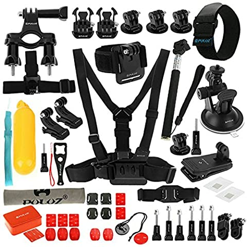 PULUZ 53 in 1 Gopro Accessories Combo Kit (Chest Strap + Suction Cup Mount + 3-Way Pivot Arms + J-Hook Buckle + Wrist Strap + Helmet Strap + Extendable Monopod + Surface Mounts + Tripod Adapters + Storage Bag + Handlebar Mount) for GoPro HERO5 /4 /3+ /3 /2