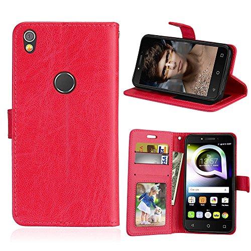 SATURCASE Alcatel Shine Lite Hülle, Luxus Glatt PU Lederhülle Magnetverschluss Flip Brieftasche Handy Tasche Schutzhülle Handyhülle Hülle mit Standfunktion für Alcatel Shine Lite 5080X (Rot)