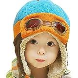 Cappello del bambino , feiXIANG Ragazzi inverno berretto caldo cappello Beanie Pilot Crochet linguetta Cappelli-miscela del cotone (Blu)