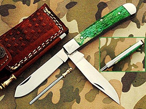 faite à la main 18 cm Trapper double lames Awesome couteau de poche pliant fabriqué avec 420 D2 en acier et manche en os de chameau : (Bdm-36)