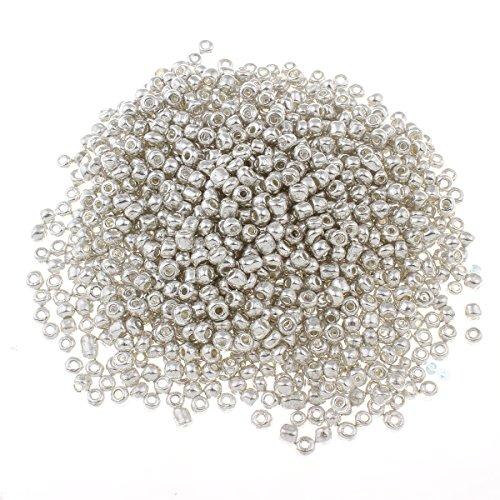 450g Rocailles Perlen 4mm Metallic Silber Glasperlen 5000stk 6/0 Kugel Rund Indianerperlen Perlenhäkeln für Schmuck Basteln Deko Kette Armband Hobbyauflösung A217 (Metallic-perle Halskette)
