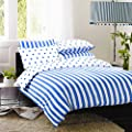 Printed Duvet Cover with Pillow Case Bedding Set Size Double Design Blue Sripe