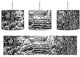 Monocrome, Schöne alte Steintreppe inkl. Lampenfassung E27, Lampe mit Motivdruck, tolle Deckenlampe, Hängelampe, Pendelleuchte - Durchmesser 30cm - Dekoration mit Licht ideal für Wohnzimmer, Kinderzimmer, Schlafzimmer
