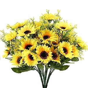 NAHUAA 4pcs Flores Artificiales Girasoles Artificiales Ramo de Flores Flores de Seda Arreglo de Ramo Primavera Hogar…
