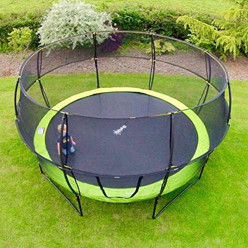 If you are looking for a large trampoline to be enjoyed by up to three users at once, seek no further than this Rebo 12FT Base Jump Trampoline With Halo II Enclosure. You will certainly love its bubble design and the enclosure with an easy zipper entry. Don't mind the ladder if those you intend to use it are able to get themselves on the trampoline. As large as it is, this unit is ready to use in under two hours, thanks to an easy assembly procedure. The construction itself is solid. We are yet to find any serious negative reviews about this product and probably because it's relatively new on the market. The few buyers have nothing but praise until now, especially regarding the vast jumping room.