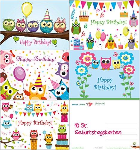10 lustige Eulen-Geburtstagskarten (5 Motive á 2 St.) von EDITION COLIBRI © - umweltfreundlich, da klimaneutral gedruckt