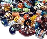 Glasperlen Mix Indian Posten Glas Perlen Beads Silberfolie Lampwork Rund Kugel Neu Farbe Bunt Perlenset Bastelset Für Schmuck zur Schmuckherstellung von Halsketten Armband DIY Basteln Schmuck Design (500)