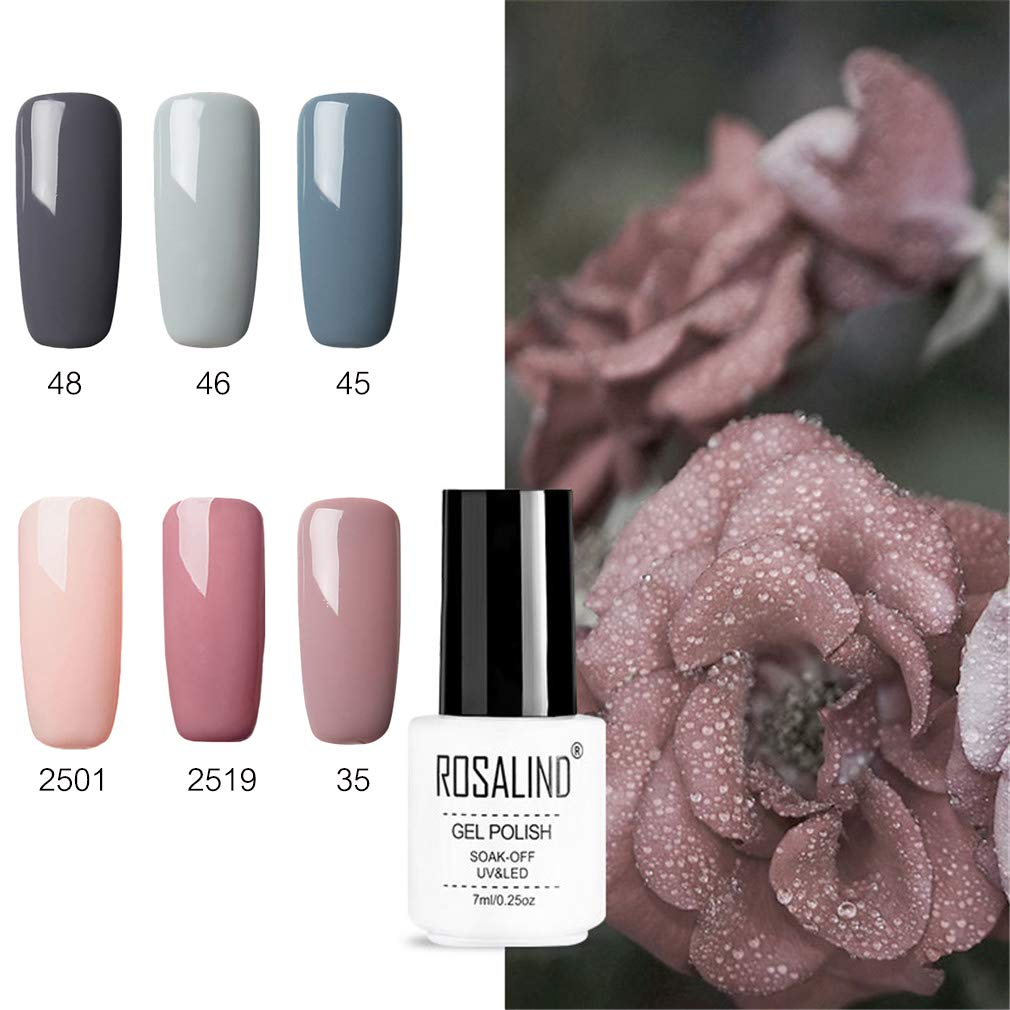 Rosalidn Esmalte Semi Permanente Para Uñas Uv Gel Polish Manicura Set 6pcslot 7ml