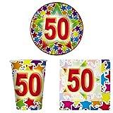 COORDINATO TAVOLA 50 ANNI Set Completo 10 Coperti Addobbo Festa 50° Compleanno