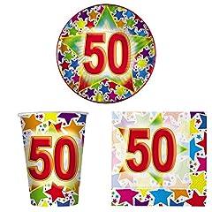 Idea Regalo - COORDINATO TAVOLA 50 ANNI Set Completo 10 Coperti Addobbo Festa 50° Compleanno