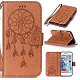 Roreikes Apple iphone 6 Plus Hülle, iphone 6S Plus Case (5,5 Zoll), Traumfänger Campanula Muster Prägung Ledertasche Slim Retro PU Leder Bookstyle Handyhülle Tasche Flip Wallet Case mit Strap Portable Handytasche Anti-Scratch Shell Cash Pouch ID Card Slot Magnetverschluss Etui Soft Silikon für Apple iphone 6 Plus/ iphone 6S Plus (5,5 Zoll) Braun