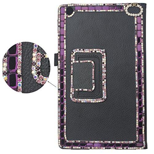 Preisvergleich Produktbild spritech (TM) 3D Luxus Kristall Bling Blumen Premium PU Leder Mit Standfunktion für Lenovo Tab 2A8-5020,3cm schwarz