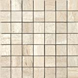 Samson 1037075 Travertini Matte 2X2 Mosaic Floor and Wall Tile, 17X17-Inch, Beige, 1-Piece
